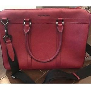 BURBERRY Red Leather Nylon Laptop Business Messeng